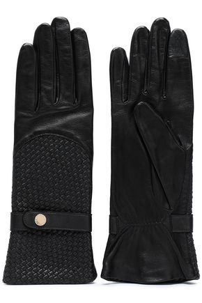 AGNELLE Basketweave leather gloves