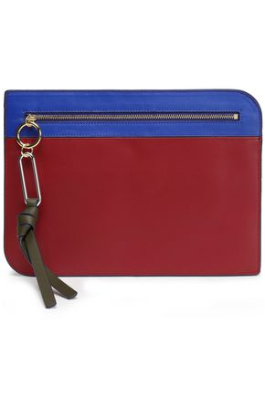 DIANE VON FURSTENBERG Color-block leather pouch