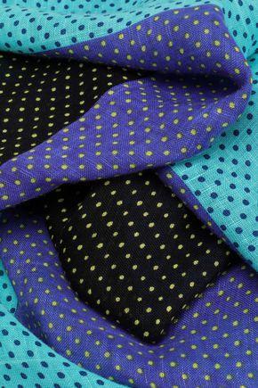 ダイアン フォン ファステンバーグ カラーブロック ポルカドット リネン混 スカーフ