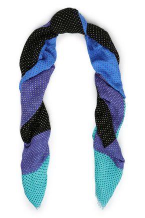 DIANE VON FURSTENBERG Color-block polka-dot linen-blend scarf