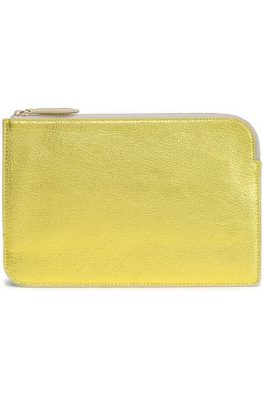 DIANE VON FURSTENBERG Metallic textured-leather pouch