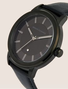 ARMANI EXCHANGE PINSTRIPE BLACK LEATHER BAND WATCH Fashion Watch [*** pickupInStoreShippingNotGuaranteed_info ***] r