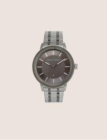 ARMANI EXCHANGE PINSTRIPED GUNMETAL-TONED BRACELET WATCH Fashion Watch [*** pickupInStoreShippingNotGuaranteed_info ***] f