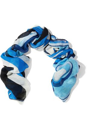 EMILIO PUCCI Printed linen and cotton-blend gauze scarf