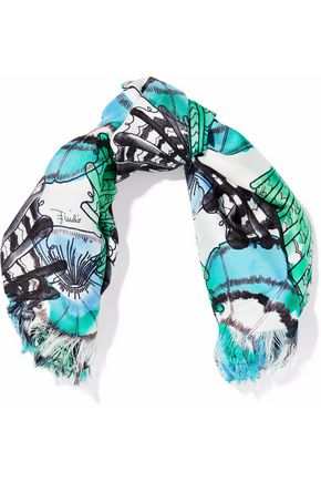 EMILIO PUCCI Frayed printed silk-twill scarf