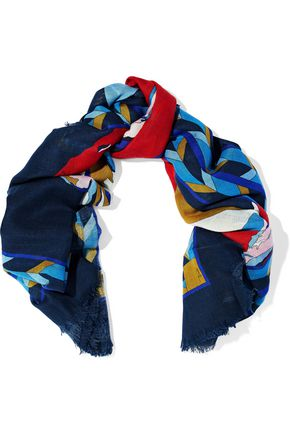 EMILIO PUCCI Printed wool and silk-blend gauze scarf