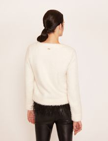 ARMANI EXCHANGE FEATHER HEM FUZZY SWEATER Crew Neck Woman e