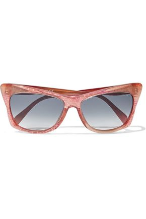 EMILIO PUCCI Cat-eye printed acetate sunglasses