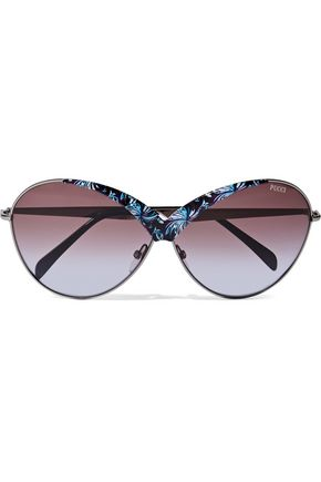 EMILIO PUCCI Round-frame printed acetate and metal sunglasses