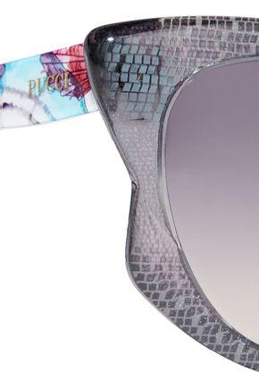 EMILIO PUCCI Cat-eye printed acetate sunglasses