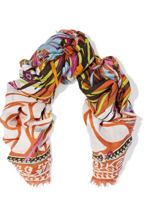 EMILIO PUCCI Frayed printed modal and cashmere-blend scarf