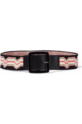 MISSONI Leather-trimmed jacquard-knit belt