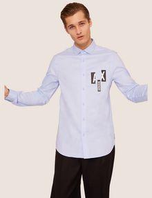 ARMANI EXCHANGE REGULAR-FIT SLICED LOGO OXFORD Plain Shirt [*** pickupInStoreShippingNotGuaranteed_info ***] a