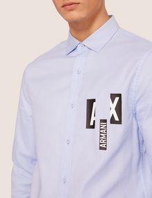 ARMANI EXCHANGE REGULAR-FIT SLICED LOGO OXFORD Plain Shirt [*** pickupInStoreShippingNotGuaranteed_info ***] b