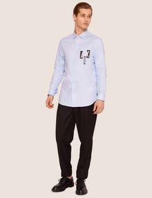 ARMANI EXCHANGE REGULAR-FIT SLICED LOGO OXFORD Plain Shirt [*** pickupInStoreShippingNotGuaranteed_info ***] d