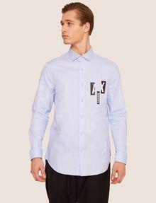 ARMANI EXCHANGE REGULAR-FIT SLICED LOGO OXFORD Plain Shirt [*** pickupInStoreShippingNotGuaranteed_info ***] f