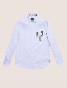 ARMANI EXCHANGE REGULAR-FIT SLICED LOGO OXFORD Plain Shirt [*** pickupInStoreShippingNotGuaranteed_info ***] r