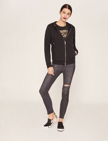 ARMANI EXCHANGE METALLIC APPLIQUE ZIP-UP HOODIE Sweatshirt Woman d