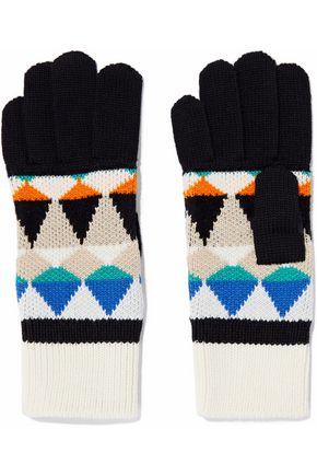 MISSONI Intarsia wool-blend gloves