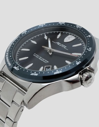 Pilota steel watch with blue dial