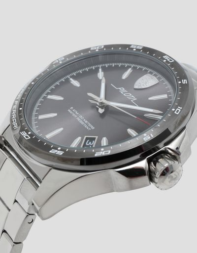 Pilota steel watch with grey dial