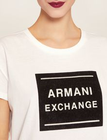 ARMANI EXCHANGE METALLIC BOXED LOGO CREW Logo T-shirt Woman b