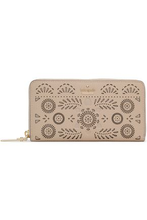 KATE SPADE New York Laser-cut textured-leather continental wallet