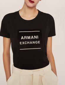 ARMANI EXCHANGE METALLIC BOXED LOGO CREW Logo T-shirt Woman b