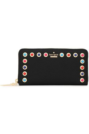 KATE SPADE New York Embellished textured-leather continental wallet