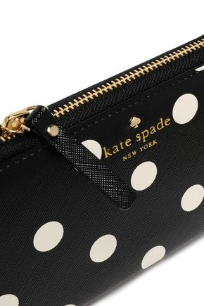 KATE SPADE New York Lacey polka-dot faux textured-leather wallet