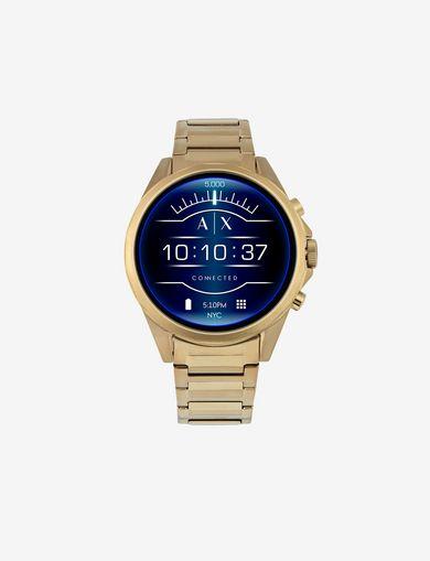 Smartwatch touchscreen con cinturino in acciaio dorato