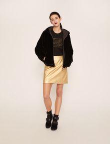 ARMANI EXCHANGE FAUX-LEATHER SEAMED METALLIC SKIRT Mini skirt [*** pickupInStoreShipping_info ***] d