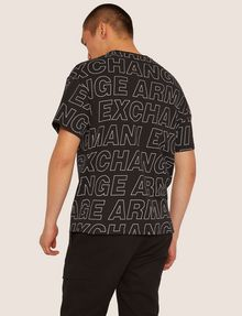 ARMANI EXCHANGE LOOSE-FIT ALLOVER LOGO PRINT CREW Logo T-shirt [*** pickupInStoreShippingNotGuaranteed_info ***] e