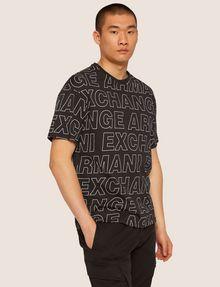 ARMANI EXCHANGE LOOSE-FIT ALLOVER LOGO PRINT CREW Logo T-shirt Man f