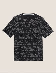 ARMANI EXCHANGE LOOSE-FIT ALLOVER LOGO PRINT CREW Logo T-shirt [*** pickupInStoreShippingNotGuaranteed_info ***] r