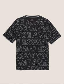 ARMANI EXCHANGE LOOSE-FIT ALLOVER LOGO PRINT CREW Logo T-shirt Man r