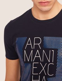 ARMANI EXCHANGE SLIM-FIT OPTICAL STRIPE METALLIC CREW Logo T-shirt [*** pickupInStoreShippingNotGuaranteed_info ***] b