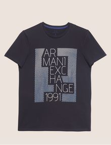 ARMANI EXCHANGE SLIM-FIT OPTICAL STRIPE METALLIC CREW Logo T-shirt [*** pickupInStoreShippingNotGuaranteed_info ***] r