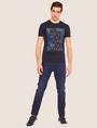 ARMANI EXCHANGE SLIM-FIT OPTICAL STRIPE METALLIC CREW Logo T-shirt [*** pickupInStoreShippingNotGuaranteed_info ***] d