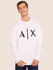 ARMANI EXCHANGE HIGH-SHINE EMBOSSED LOGO SWEATSHIRT Sweatshirt [*** pickupInStoreShippingNotGuaranteed_info ***] a