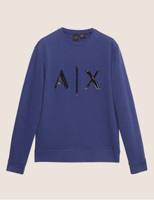 ARMANI EXCHANGE HIGH-SHINE EMBOSSED LOGO SWEATSHIRT Sweatshirt [*** pickupInStoreShippingNotGuaranteed_info ***] r