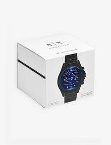 ARMANI EXCHANGE Touchscreen Smartwatch mit schwarzem Stahlarmband Uhr E b