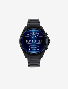 ARMANI EXCHANGE BLACK STAINLESS STEEL TOUCHSCREEN SMARTWATCH Smartwatch E f