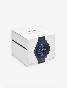ARMANI EXCHANGE BLUE STAINLESS STEEL TOUCHSCREEN SMARTWATCH Watch E b