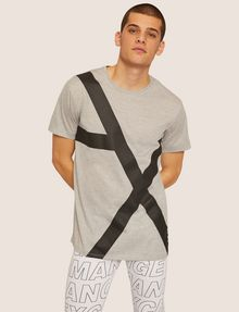 ARMANI EXCHANGE LOOSE-FIT OVERSIZED LINE LOGO CREW Graphic T-shirt [*** pickupInStoreShippingNotGuaranteed_info ***] f