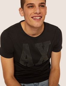 ARMANI EXCHANGE SLIM-FIT STUDDED VARSITY LOGO CREW Logo T-shirt Man a