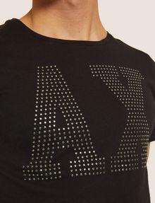 ARMANI EXCHANGE SLIM-FIT STUDDED VARSITY LOGO CREW Logo T-shirt Man b