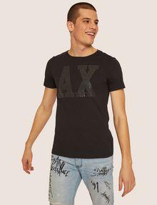 ARMANI EXCHANGE SLIM-FIT STUDDED VARSITY LOGO CREW Logo T-shirt Man f