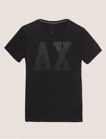 ARMANI EXCHANGE SLIM-FIT STUDDED VARSITY LOGO CREW Logo T-shirt Man r