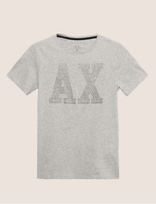 ARMANI EXCHANGE SLIM-FIT STUDDED VARSITY LOGO CREW Logo T-shirt Man r